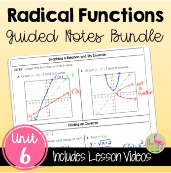 Algebra 2 Radical Functions and Rational Exponents Guided Notes Bundle