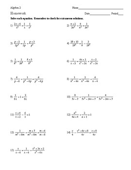 Algebra 2 - Rational Expressions - Homework Pack