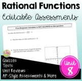 Rational Functions Assessments (Algebra 2 - Unit 8)