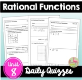 Rational Functions Daily Quizzes (Algebra 2 - Unit 8)