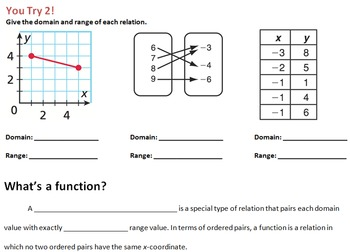 LONG HAUL: Algebra 2 Relations and Functions Smartboard #10