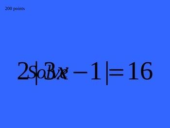 Algebra 2 Review Jeopardy PPT