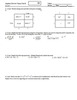 Algebra 2 Review Topics Test Spring 2008; 3 versions; 3 pages each (Editable)