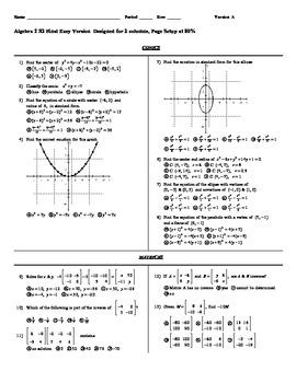 Algebra 2  Second Semester Final Exam  Easy Version