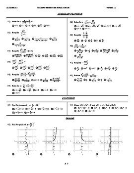 Algebra 2 Second Semester Final Exam Easy Version by ...