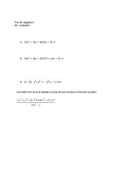 Algebra 2 Semester 1 Exam and Answer Key