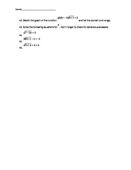 Algebra 2 Semester 2 exam Review