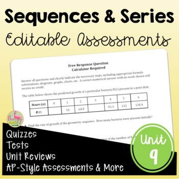 Sequences and Series Assessments (Algebra 2 - Unit 9)