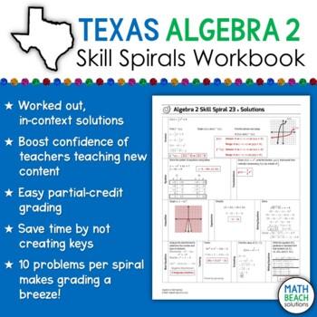 Algebra 2 Skill Spirals - Spiral Review Practice Workbook - Texas Edition (TEKS)