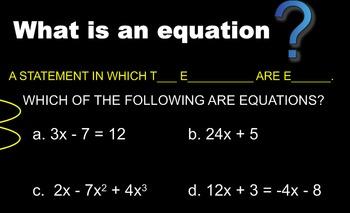 LONG HAUL: Algebra 2 Solving Equations Smartboard #2