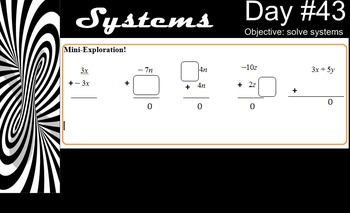 LONG HAUL: Algebra 2 Solving Systems Algebraically Smartboard #23