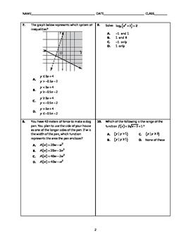 Algebra 2 EOC Spiral Quiz BUNDLE 21-25