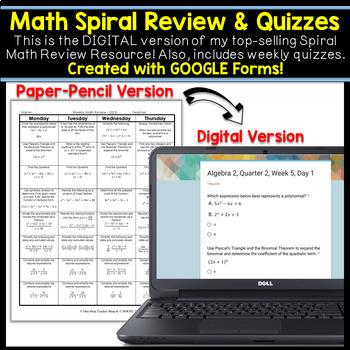 Algebra 2 Spiral Review DIGITAL | Google Classroom | Distance Learning