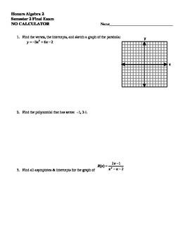 Algebra 2 Spring Final Exam