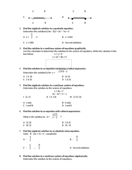 Algebra 2 State Test Review - Mock Test