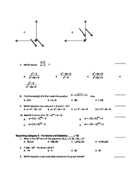 Algebra 2 State Test Review by Category