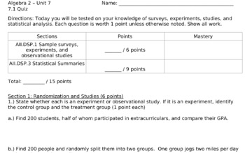 Algebra 2 Statistical Analysis Lesson Plan Bundle