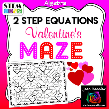 Algebra 2 Step Equations Valentines Maze