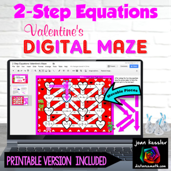 Algebra 2 Step Equations Valentines Maze with GOOGLE Slides