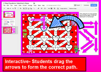 Algebra 2 Step Equations Valentines Maze with GOOGLE Slides™