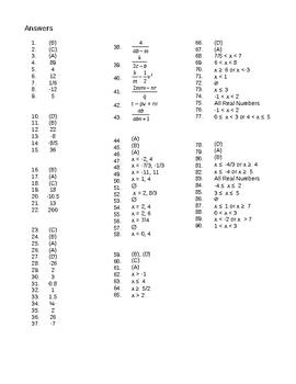 Algebra 2 Test Bank Ch 1