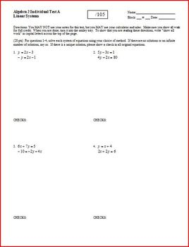 Algebra 2 Test: Linear Systems - 4 versions - 3 pages each
