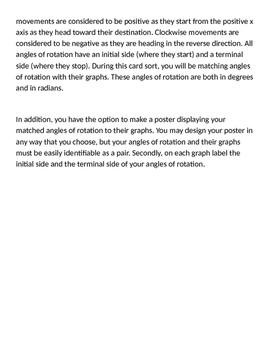 Algebra 2 Trigonometry Angles of Rotation Card Sort (and optional project)