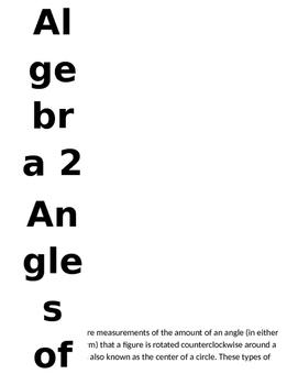 Algebra 2 Trigonometry Angles of Rotation Card Sort (and o