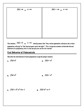 Algebra 2 Tutorial & Worksheets: End Behavior of Polynomials