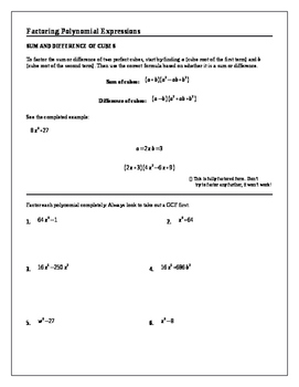 Algebra 2 Tutorial & Worksheets: Factoring Polynomial Expressions