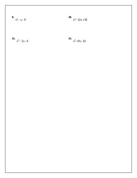 Algebra Tutorial & Worksheets: Factoring Quadratic Expressions