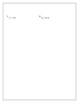 Algebra Tutorial & Worksheets: Solving Quadratic Equations by Square Roots