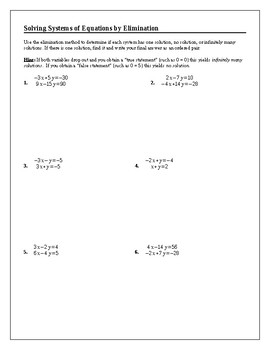 Algebra Tutorial & Worksheets: Solving Systems of Equations by Elimination