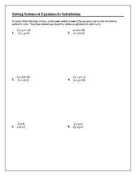 Algebra Tutorial & Worksheets: Solving Systems of Equations by Substitution