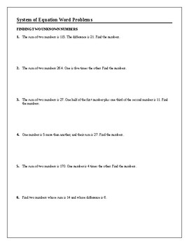 Algebra Tutorial & Worksheets: Systems of Equations Word Problems