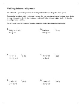 Algebra Tutorial & Worksheets: Verifying Solutions to Linear Systems