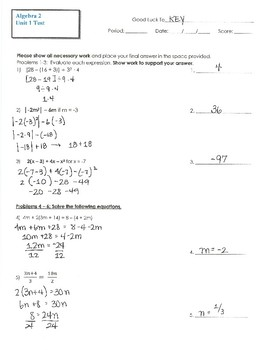 Algebra 2 Unit 1 Test