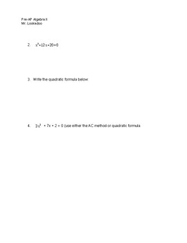 Algebra 2 Unit 1 Test & Study Guide
