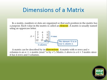 Algebra 2 Unit on Matrices with power points