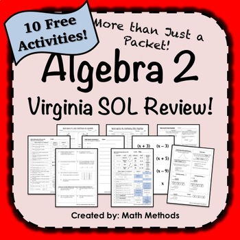Algebra 2 Virginia SOL Review Activities FREE! More than just a packet!