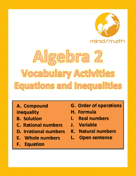 Algebra 2 Vocabulary Activities for Equations and Inequalities