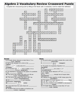 Algebra 2 Vocabulary Review Crossword Puzzle