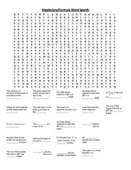 Algebra 2 Vocabulary Review Word Search Puzzle