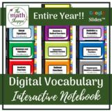 Algebra 2 WHOLE YEAR Digital Vocabulary Interactive Notebo
