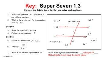 Algebra 2:  Warm-up Problems - 1 minute dot-to-dot