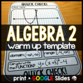 Algebra 2 Warm-up Template