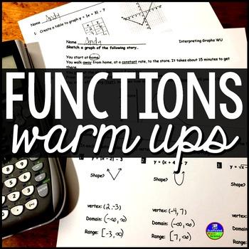 Functions Warm Ups {editable}
