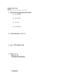 Algebra 2 composition and inverse test