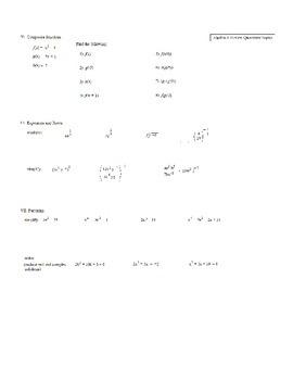 Algebra 2 (first semester) Finals Review