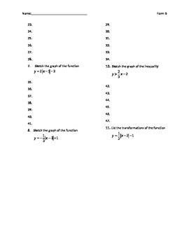 Algebra 2 test over graphing linear eq, abs. value eq, and linear inequalities